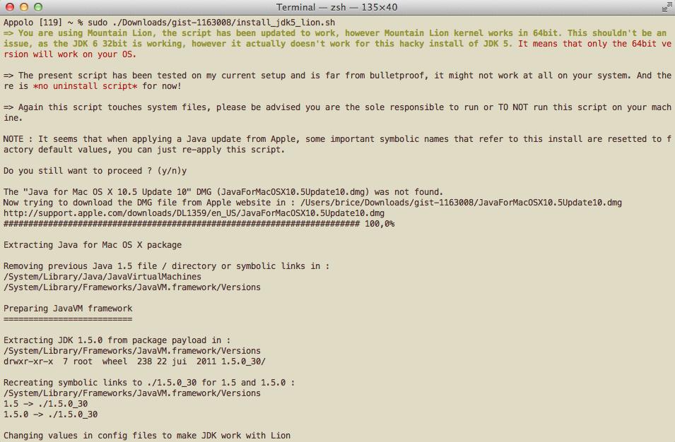 Script d'installation du JDK 5 sur MacOSX Lion et Mountain Lion (Mis